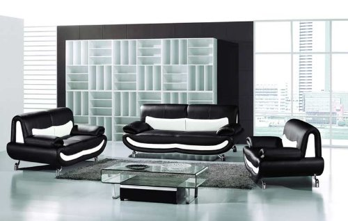 New 3pc Contemporary Modern Leather Sofa Set Am 068 D Black White
