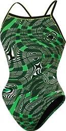 Speedo Big Girls\' Scoubidou Youth Flyback Swimsuit, Kelly Green, 28