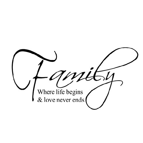 """Soledì Adesivi Murales """"Family where life begins"""" FAI DA TE 60x30CM , Decorazione/Murali/Carta da Parete"""