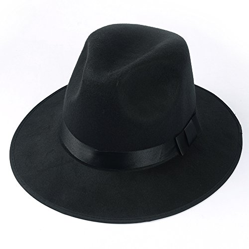 Medium Vintage Style Men`s Hard Felt Wide Brim Fedora Trilby Panama Hat (Black)