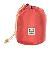 Di Grazia Stylish Barrel Shape, Multifunctional Men Women Travel Organiser, Cosmetics Storage Drawstring Bag - Pink