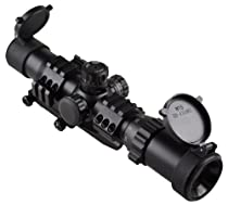 """Sniper Tactical Scope 1-4x28 5"""" Eye Relief with Cantilever mount and Etched Horseshoe Glass reticle"""