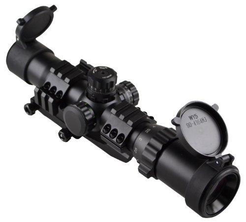 """Sniper Tactical Scope 1-4X28 5"""" Eye Relief Etched Chevron Reticle With Cantilever Mount"""