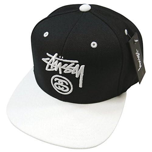 (ステューシー)STUSSY STOCK LOCK 2-TONE CAP ストックロゴ刺繍 スナップバック キャップ BLACK(ブラック×ホワイト) [並行輸入品]