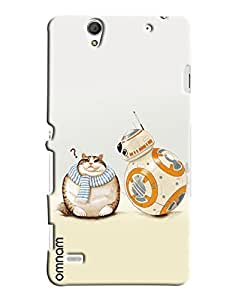 Omnam Fat Cat And Robot Printed Designer Back Cover Case For Sony Xperia C4