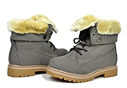 Dream Pairs KLUG New Kid\'s Foldable Fur Cuff Lace Up Ankle Hiking Winter Outdoor Snow Boots (Toddler/Little Kid/Big Kid) Grey Size 8