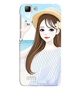 Printvisa Cute Girl On A Beach Back Case Cover for vivo V1