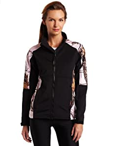 Yukon Gear Women's Windproof Fleece Jacket (Black/Mossy Oak Pink Snow, Large)