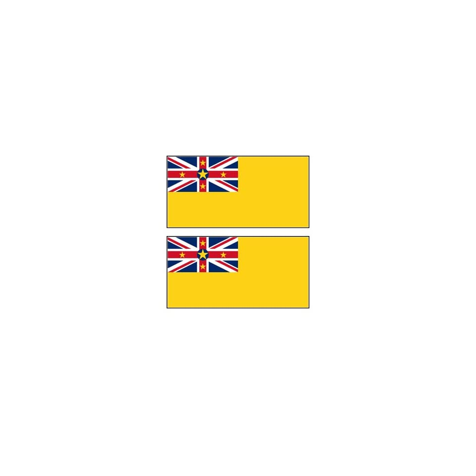 2 Niue Niuean Flag Stickers Decal Bumper Window Laptop Phone Auto Boat Wall