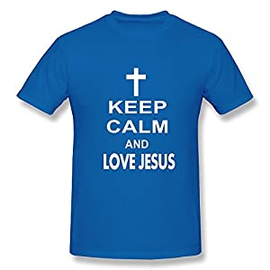 Cool Crew Neck Keep Calm Love Jesus Male T Shirt