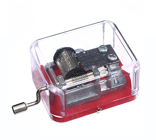 Laxury Plastic Hand Crank Music Box SY003 (18 Note Movement in Sliver,set of 1) (Red-Tune is Lilium from Elfen Lied)