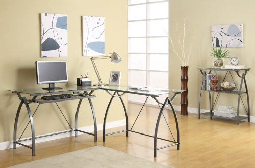 Buy Low Price Comfortable Glass Top Computer Desk in Silver Finish by Coaster Furniture (B0040IDO8I)