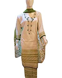 Women's Semi-Stitched Green Dhaka Cotton Suit with beads embroidery