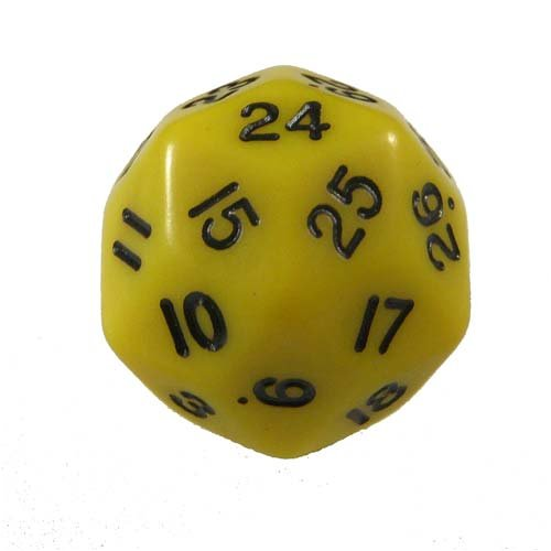 KOP06011 Yellow Opaque Triantakohedron 30 Sided Dice 1 ea