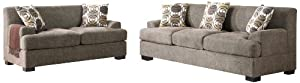 Poundex Montereal 2-Piece Sofa and Loveseat Collection Set with Faux Linen, Slate Color