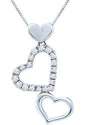 14K Yellow/White Gold 1/5 ct. Diamond Heart Pendant with Chain