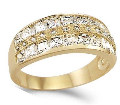 CZ Wedding Ring 14k Yellow Gold Anniversary Band Cubic Zirconia 1.50ct, Size 9