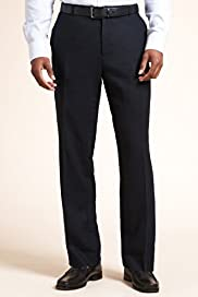 Linen Blend Single Pleat Straight Fit Trousers