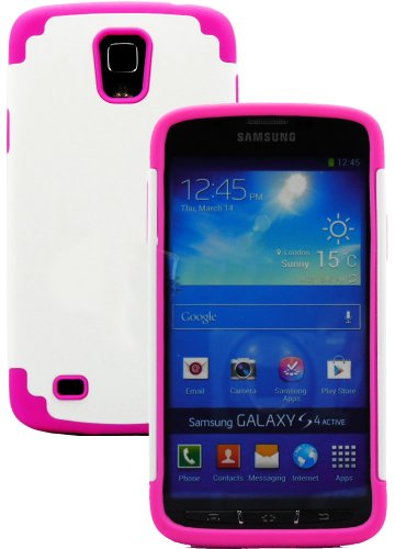 """Mylife (Tm) Rose Pink And White - Smooth Design (2 Piece Hybrid Bumper) Hard And Soft Case For The Samsung Galaxy S4 """"Fits Models: I9500, I9505, Sph-L720, Galaxy S Iv, Sgh-I337, Sch-I545, Sgh-M919, Sch-R970 And Galaxy S4 Lte-A Touch Phone"""" (Fitted Back So"""