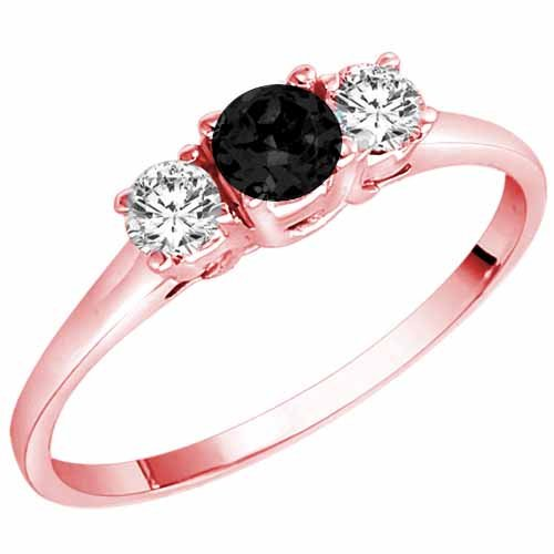 DivaDiamonds 14K Gold Round 3 Stone Black Diamond & White Diamond Ring (1/2 ctw)
