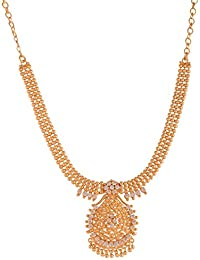 Ganapathy Gems 1Gram Gold Plated Kerala Design Necklace With White CZ Stones (8936)