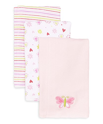 Spasilk Baby-Girls Newborn 3 Pack 100% Cotton Burp Cloths, Pink, 12 Inchx17 Inch