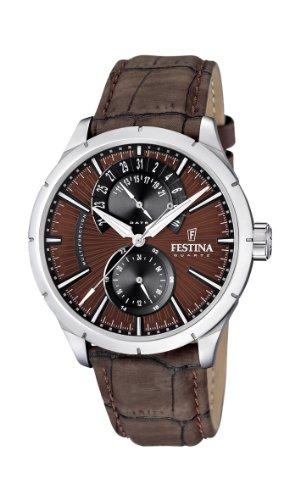 Festina  F16573/6 - Reloj de cuarzo para hombre, con correa de cuero, color marrón