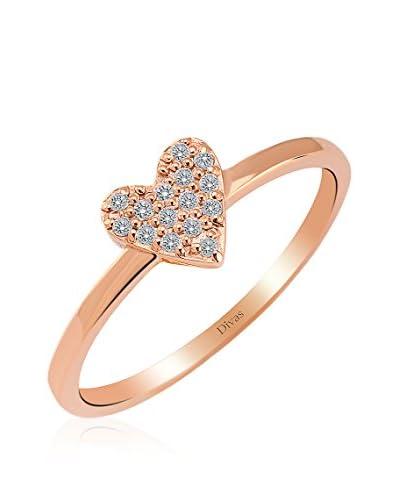 Divas Diamond Anillo Corazón Piedras Oro