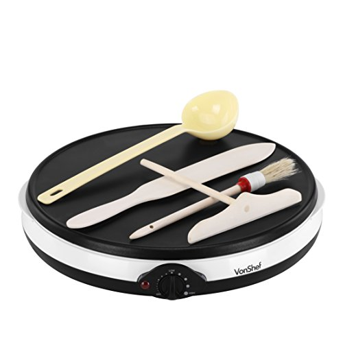 Fantastic Deal! VonShef Professional Electric Crepe and Pancake Maker with FREE Batter Spreader, Oil Brush, Wooden Spatula & Ladle