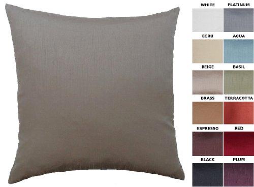 "Dreamhome - Solid Faux Silk Decorative Pillow Cover/Sham, 18"" X 18"" - Beige"
