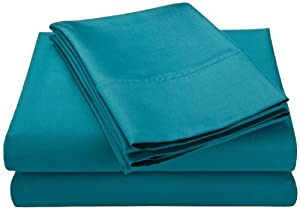 Resistant 4 piece queen bed sheet set solid teal teal bed sheets