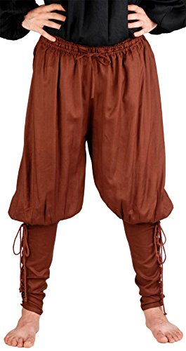 Medieval Poet's Renaissance Pirate Captain Cottuy Pants Costume [Chocolate] (Small/Medium) (Renaissance Pants Men compare prices)