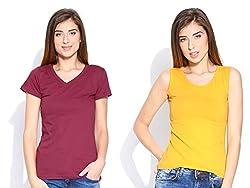 Happy Hippie Women's Combo T-shirt Maroon-Yellow