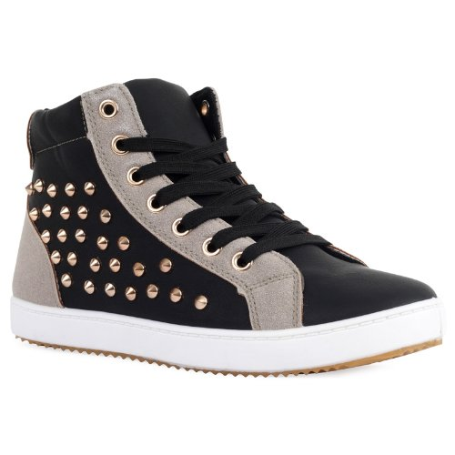 81W Womens Synthetic Ladies Studded High Top Basketball Trainers Pumps