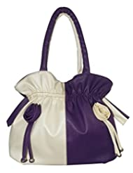 Beautiful/Stylish Purple And Off White Color Women's Handbags. Top/Hot Sellign Handbag
