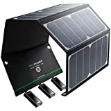 RAVPower UK RP-PC005(B) 24W Smart IC Chip Lightweight Waterproof Solar Charger With Triple USB Ports For Phone...