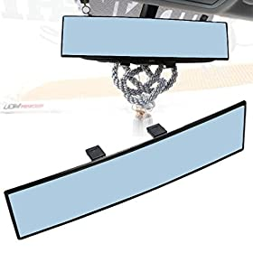 "JDMTOYu00ae Universal Fit JDM 300mm 12"" Wide Anti-Glare Blue Tint Curve Convx Clip On Rear View Mirror For Car SUV Van Truck, etc"