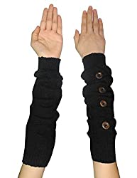 Womens Warm Winter Long Ribbed Knit Thermal Arm Warmers with Buttons one size Black