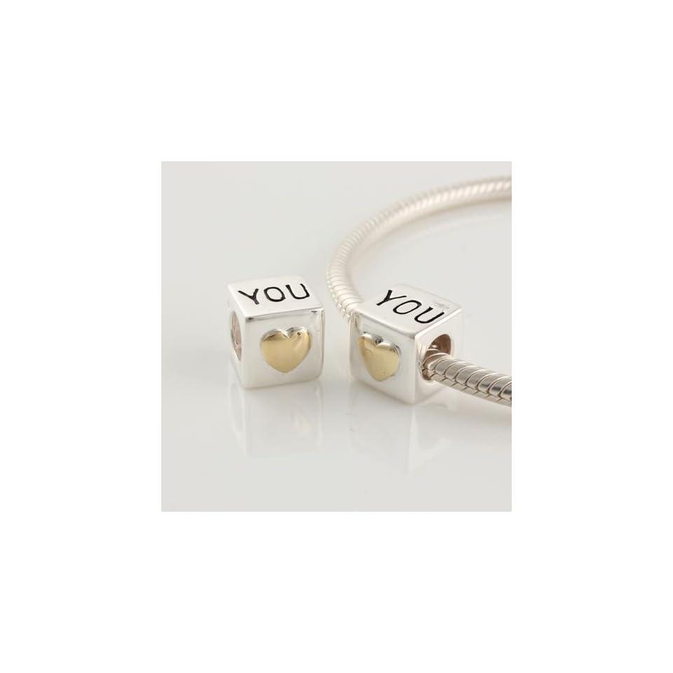 Authentic EvesErose Highest Quality I Love You, Heart of Gold Charm Bead Fits Pandora Chamilia Biagi Trollbeads European Bracelet