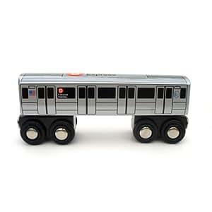 .com: Munipals Wooden Railway NYC Subway Car D Train: Toys & Games