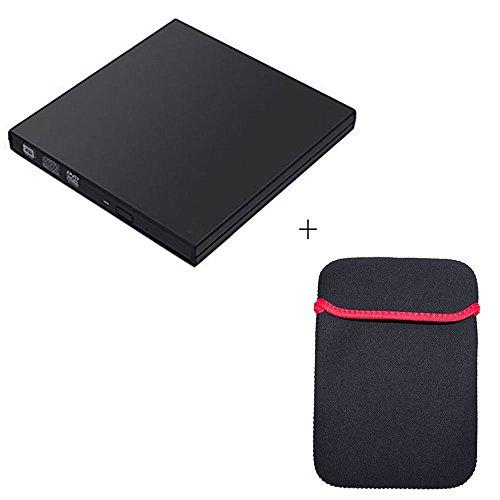 Lettore DVD esterno USB 2.0, SHONCO Portatile Masterizzatore Lettore DVD esterno DVD CD RW ROM Player esterno Superdrive per Apple Macbook Pro Air iMac (Nero) + Borsa