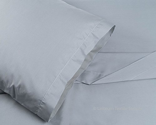 Linteum Textile Supply 100% Cotton BED SHEET SET - 3 Piece Bedding Set, Flat Sheet, Fitted Sheet and Pillow Case - Wholesale Extremely Durable 250 Thread Count MADE IN USA (Twin, Stone Grey) (Usa Made Sheets compare prices)