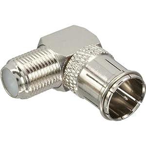 Adapter F-Quick-Stecker (SAT) auf F-Buchse (SAT) - gewinkelt