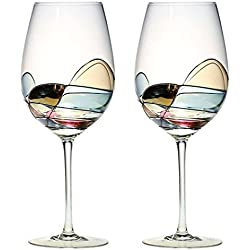 ANTONI BARCELONA Wine Glasses - Set of 2 - Unique Hand Painted Gifts for Women, Men, Wedding, Anniversary, Couples, Engagement - Gifts Ideas for Her, Him, Birthday, Mom, Housewarming, Best Friends
