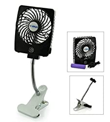Mini Handheld Square Electrical Portable Rechargeable Fan 3 Speeds Desktop Clip-on Fan Summer Cooler Electric Personal Fan Power Bank Fan LED Lights with Clip Base Battery and USB Cable