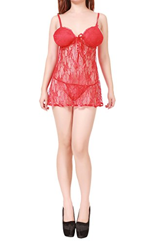 Sexy LACE BABYDOLL Lingerie (US(M)-ASIA(L), Red)