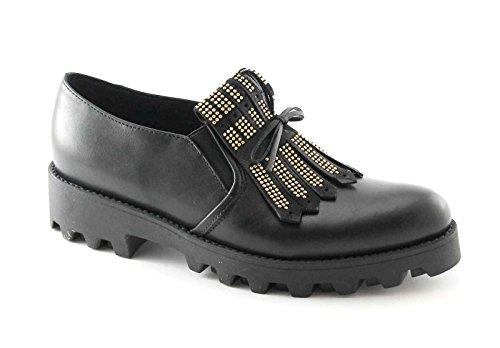 DIVINE FOLLIE INES4 nero scarpe donna slip on frangia punta pelle 37