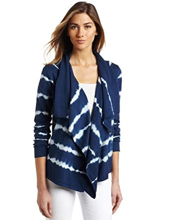 Calvin Klein Jeans Women's Tie Dye Open Cardigan Sweater, Cool Navy, Small/Medium