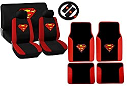 See 15 Piece Red and Black Superman Stitched Logo Seat Cover Gift Set (Includes Front Seat Covers, Rear Seat Covers, Superman Floormats, Steering Wheel) Designed Fit for Acura Cars Details