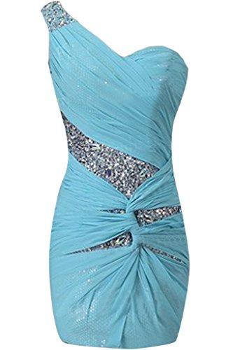 Donna Ivydressing un-spalla Chiffon & paillette in-linea breve vestito da sera festa Festkelid blu 44